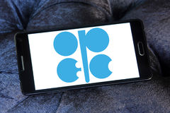 OPEC organization logo. Logo of OPEC organization on samsung mobile. Organization of the Petroleum Exporting Countries is an intergovernmental organization of 14 Royalty Free Stock Photo