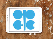 OPEC organization logo. Logo of OPEC organization on samsung tablet on wooden background. Organization of the Petroleum Exporting Countries is an Stock Photography