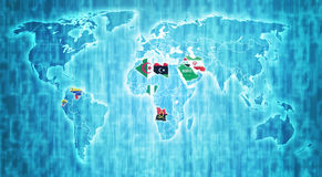 OPEC territory on world map Stock Photography