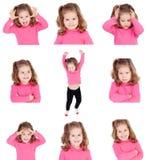 Opeenvolging van beelden van een mooi meisje met verschillende gebaren stock fotografie