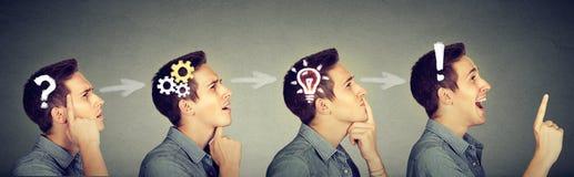 Opeenvolging van een nadenkende mens, het denken, die oplossing vinden Stock Foto