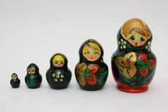 Opeenvolging van Russische poppen Royalty-vrije Stock Fotografie
