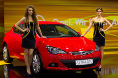 Opel Astra at automotive-show SIA 2012 Stock Photos