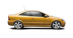 Opel Astra G coupe. Coupe car side view isolated on white Stock Photography