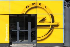 Opel car dealership. Villefranche, France - March 5, 2017: Opel is a german automobile manufacturer headquartered in Russelsheim, Germany and a subsidiary of Stock Photo