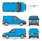 Opel Combo 2016 L1H1 Professional Delivery Van. Opel Combo 2016 L1H1 Professional Cargo Delivery Van isolated draw scale 1:10 in CDR Format Royalty Free Stock Images