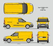 Opel Combo 2016 L2H1 Professional Delivery Van. Opel Combo 2016 L2H1 Professional Cargo Delivery Van isolated draw scale 1:10 in CDR Format Stock Image