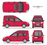 Opel Combo 2016 L1H2 Professional Delivery Van. Opel Combo 2016 L1H2 Professional Combi Delivery Van isolated draw scale 1:10 in CDR Format Royalty Free Stock Images