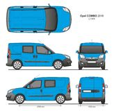 Opel Combo 2016 L1H1 Professional Delivery Van. Opel Combo 2016 L1H1 Professional Combi Delivery Van isolated draw scale 1:10 in CDR Format Royalty Free Stock Image