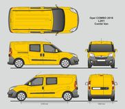Opel Combo 2016 L2H1 Professional Delivery Van. Opel Combo 2016 L2H1 Professional Combi Delivery Van isolated draw scale 1:10 in CDR Format Royalty Free Stock Photo