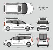 Opel Combo 2016 L2H2 Professional Delivery Van. Opel Combo 2016 L2H2 Professional Combi Delivery Van isolated draw scale 1:10 in CDR Format Stock Photos