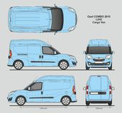 Opel Combo 2016 L2H2 Professional Delivery Van. Opel Combo 2016 L2H2 Professional Cargo Delivery Van isolated draw scale 1:10 in CDR Format Stock Image