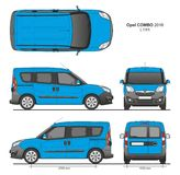 Opel Combo 2016 L1H1 Professional Delivery Van. Opel Combo 2016 L1H1 Professional Combi Delivery Van isolated draw scale 1:10 in CDR Format Stock Photos