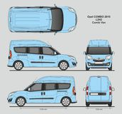 Opel Combo 2016 L2H2 Professional Delivery Van. Opel Combo 2016 L2H2 Professional Combi Delivery Van isolated draw scale 1:10 in CDR Format Royalty Free Stock Photos