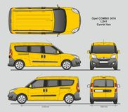 Opel Combo 2016 L2H1 Professional Delivery Van. Opel Combo 2016 L2H1 Professional Combi Delivery Van isolated draw scale 1:10 in CDR Format Stock Image