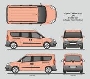 Opel Combo 2016 L2H1 Professional Delivery Van. Opel Combo 2016 L2H1 Professional Combi Delivery Van Liftgate Rear Door isolated draw scale 1:10 in CDR Format Stock Images