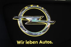 Opel Company Logo. The Opel Company Logo with the slogan - Wir leben Autos Royalty Free Stock Images