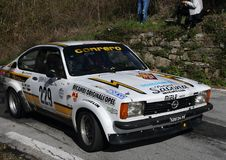 Opel Kadett  Gte historic race car during the race. Opel Kadett  Gte historic race car during the 65th Sanremo Rally that took place in the Ligurian hinterland Royalty Free Stock Images