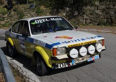 Opel Kadett  Gte historic race car during the race. Opel Kadett  Gte historic race car during the 65th Sanremo Rally that took place in the Ligurian hinterland Royalty Free Stock Image