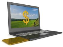 Opel laptop with credit-card. Royalty Free Stock Photos