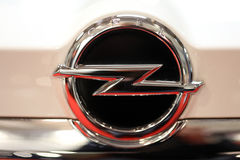 Opel metallic logo closeup on Opel car displayed at  MOTO SHOW in Cracow Poland. Exhibitors present  most interesting aspects of the automotive industry Royalty Free Stock Photography