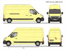 Opel Movano Cargo Delivery Van 2015 L3H3 Blueprint. Opel Movano Cargo Delivery Van 2015 L3H3  Scale 1:10 detailed template in AI Format Stock Photo