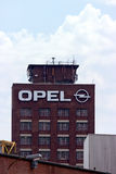 Opel Tower. Ruesselsheim, Hesse, Germany - July 27, 2013: Tower and plant of the headquarter of German automobile company Adam Opel AG Stock Photo