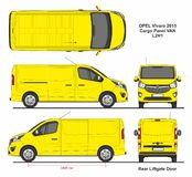 Opel Vivaro Cargo Panel Van L2H1 Liftgate Rear Door 2015. Detailed template for design and production of vehicle wraps scale 1 to 10 royalty free illustration