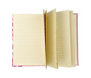 Open回收了在与裁减路线的白色背景隔绝的棕色笔记本 免版税库存图片