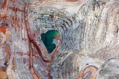 open露天开采矿采矿垂直的看法  免版税库存图片