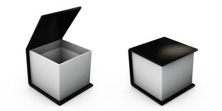 Open黑色在白色隔绝的礼物盒的例证 库存图片