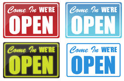Open. Various Come In We're Open sign. neon, blue, red Royalty Free Stock Photo