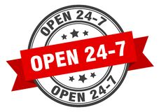 Free Open 24 7 Label. Open 24 7 Round Band Sign. Royalty Free Stock Photo - 171557335