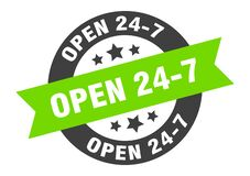 Free Open 24 7 Sign. Open 24 7 Round Ribbon Sticker. Open 24 7 Royalty Free Stock Photography - 171018437