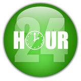 Open 24 hour logo. Over white background Stock Photos