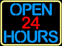 Open 24 hours. On black background Stock Images