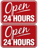 Open 24 hours. Sign. Top sign flat style. Bottom sign has shadowing for a layered look stock images