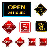 Open 24 hours. Illustration of open and closed sign Stock Images