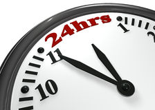 Open 24 hours. Number in the clock represent 24 hour opening Royalty Free Stock Photography