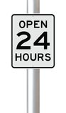 Open 24 Hours. A modified speed limit sign indicating Open 24 Hours Royalty Free Stock Photography