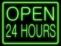 Open 24 hours. Abstract resembling 24 hours neon sign - suitable for night time retail concepts royalty free stock images