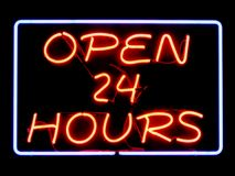 Open 24 Hours Stock Image