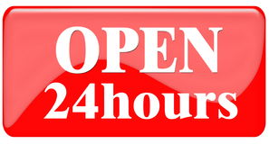 Open 24 Hours. Symbols for your web site or Shops royalty free illustration