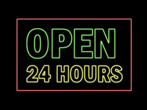 Open 24 hours  in neon Stock Photos