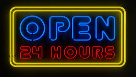 Open 24 Hours Sign. Neon sign displaying open 24 hours over dark reflective surface Stock Photo