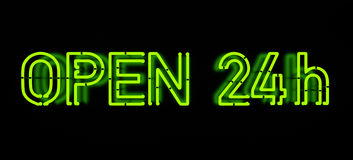 Open 24h Neon Sign. Neon Sign isolated on black vector illustration