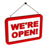 We are open. We're open text on a red hanging label over white background, newly opened store, service, web site or web-store concept Royalty Free Stock Images