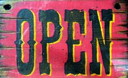 Open. Old western open sign Stock Photos