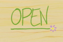 Open. Drawing depicting wooden panel with the word open Stock Photography