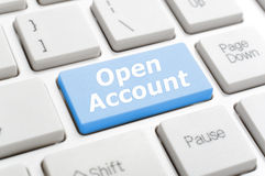 Open account on keyboard Stock Image